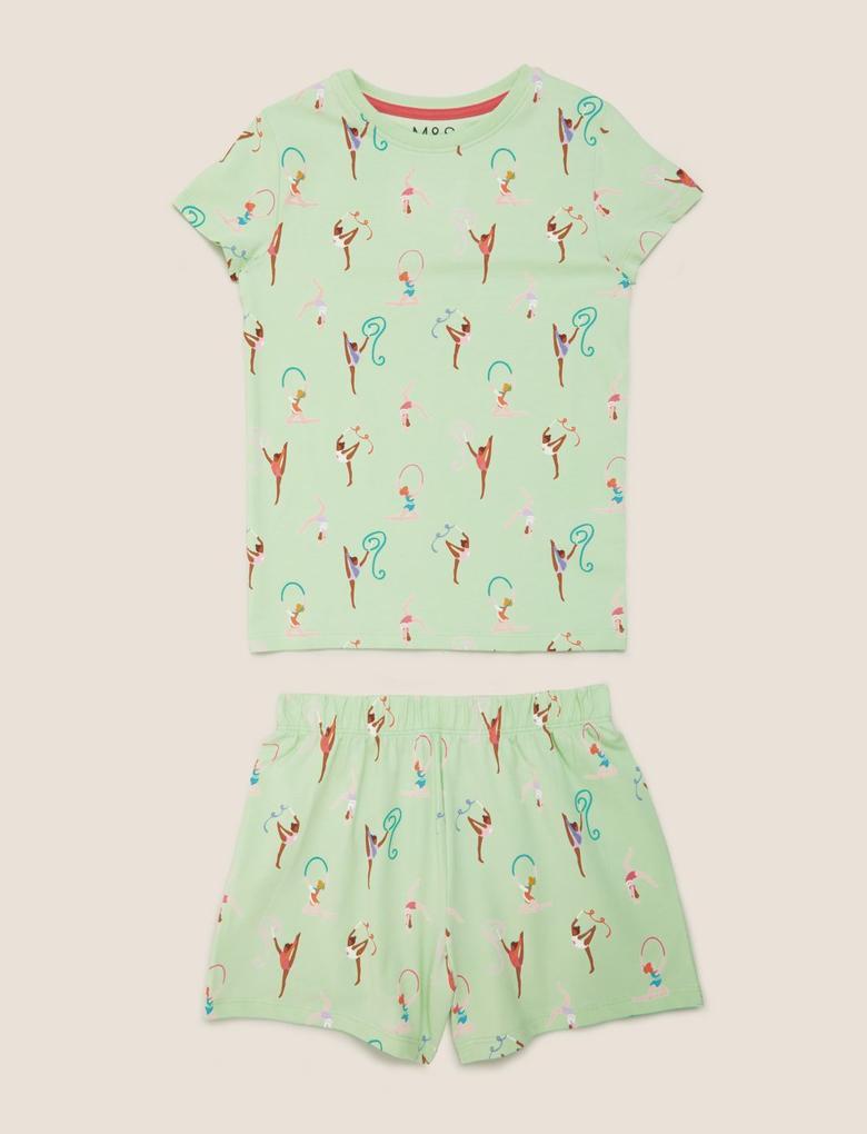 Çocuk Yeşil Balerin Desenli Pijama Takımı