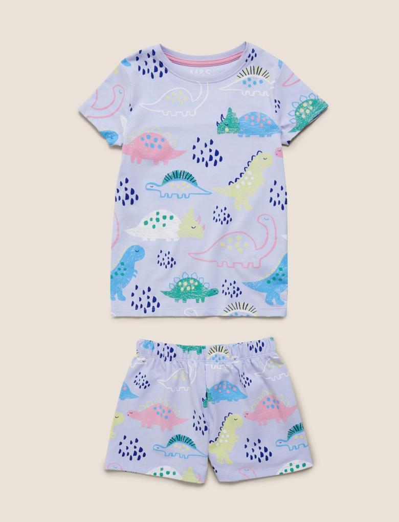 Çocuk Mor Dinozor Baskılı Pijama Takımı