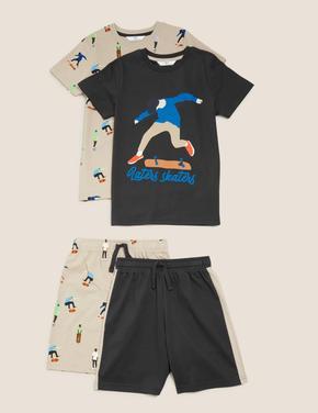 Çocuk Multi Renk Kaykay Baskılı Pijama Takımı
