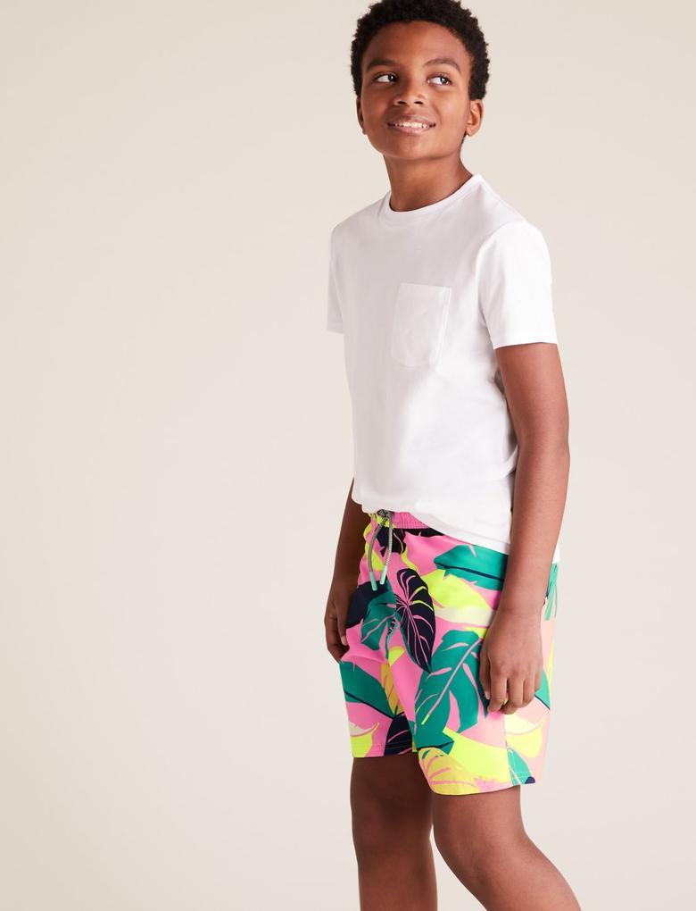Erkek Çocuk Pembe Desenli Deniz Şortu