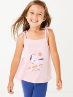Kız Çocuk Pembe Unicorn Desenli İnce Askılı T-Shirt