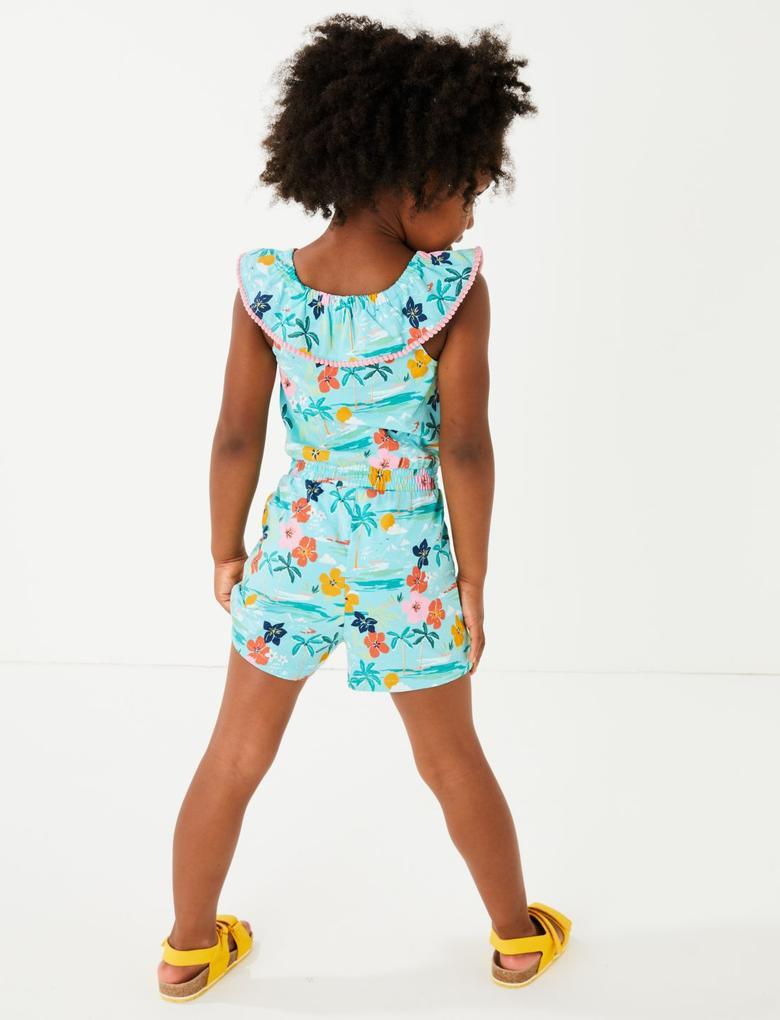 Kız Çocuk Mavi Tropical Desenli Tulum