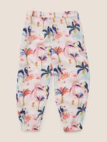 Kız Çocuk Beyaz Çiçek Desenli Pantolon