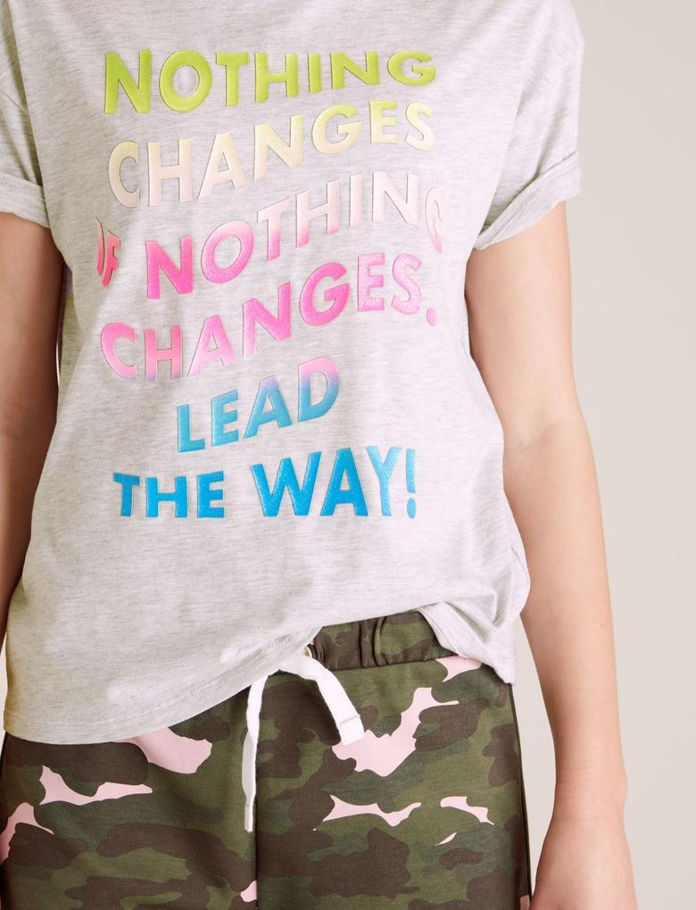 Kız Çocuk Gri Organik Pamuklu Slogan Baskılı T-Shirt