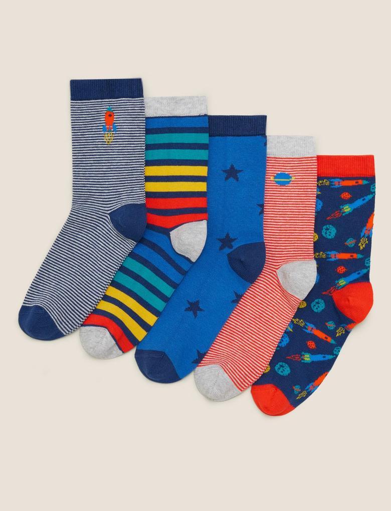 Çocuk Multi Renk 5'li Pamuklu  Çorap Seti