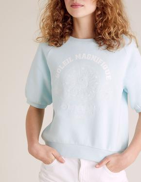 Kız Çocuk Mavi Slogan Baskılı Sweatshirt