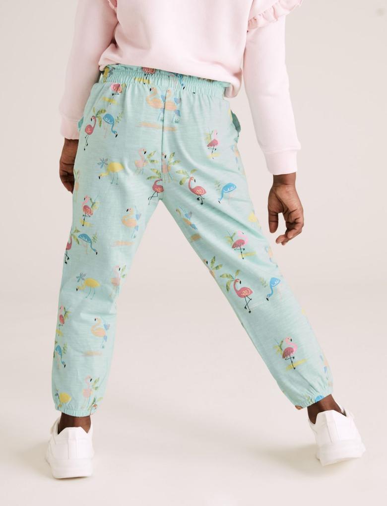 Kız Çocuk Mavi Flamingo Baskılı Pantolon