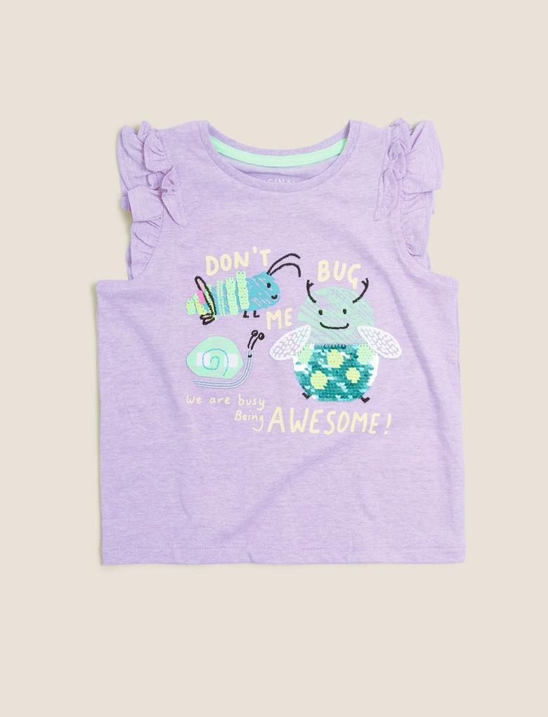 Kız Çocuk Mor Slogan Desenli Fırfır Detaylı T-Shirt