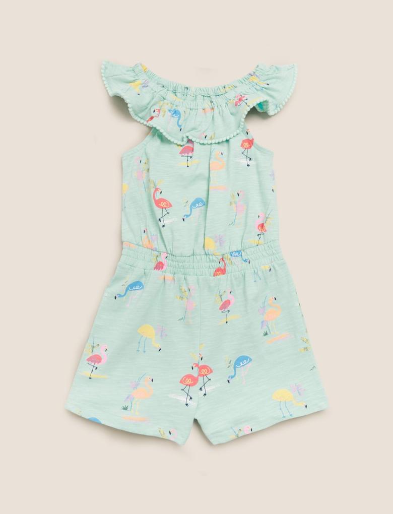 Kız Çocuk Mavi Flamingo Desenli T-Shirt