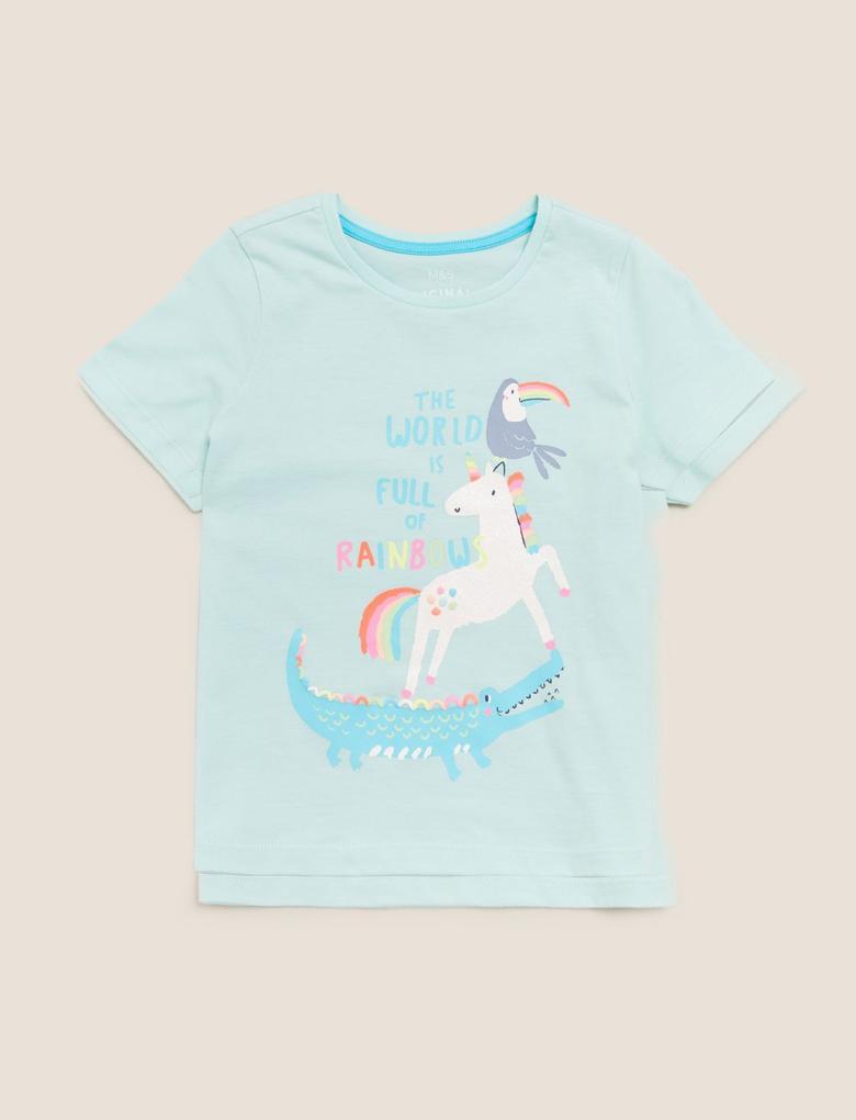 Kız Çocuk Mavi Organik Pamuklu Unicorn Desenli T-Shirt