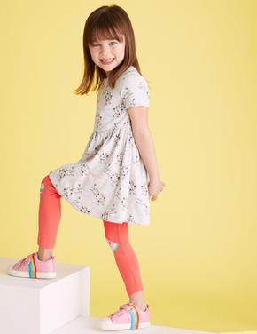 Kız Çocuk Gri Aslan Desenli Elbise