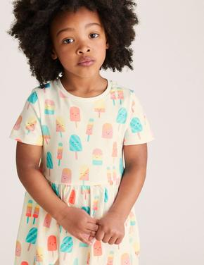Kız Çocuk Beyaz Dondurma Desenli Elbise