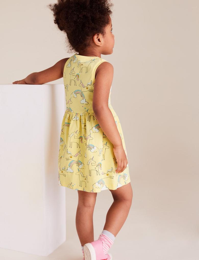 Kız Çocuk Sarı Organik Pamuklu Unicorn Desenli Elbise