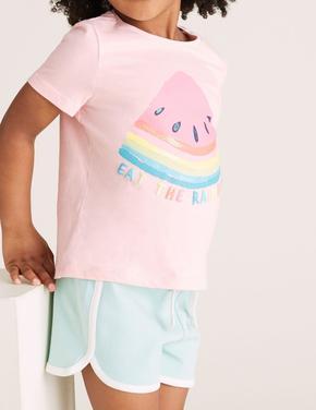 Kız Çocuk Pembe Organik Pamuklu Karpuz Desenli T-Shirt