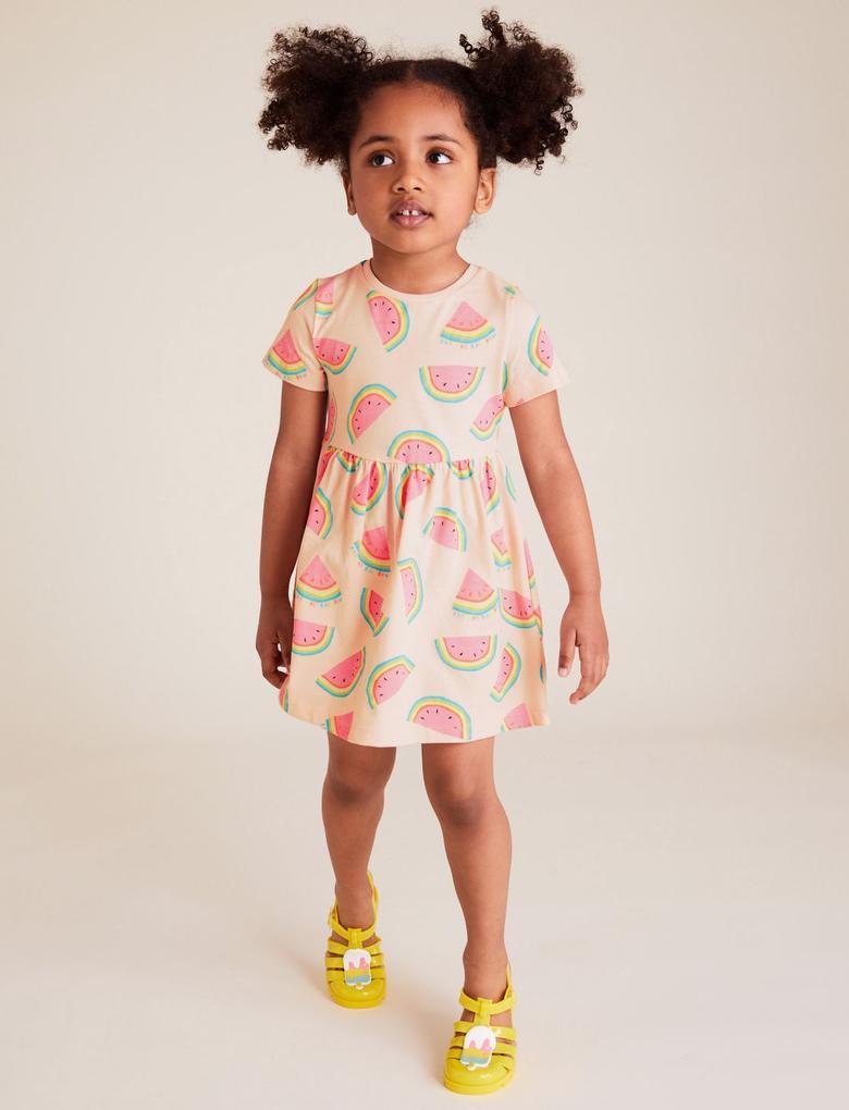 Kız Çocuk Pembe Karpuz Desenli Elbise