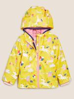 Kız Çocuk Sarı Çift Taraflı Unicorn Desenli Yağmurluk
