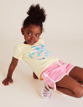 Kız Çocuk Pembe Organik Pamuklu Şort