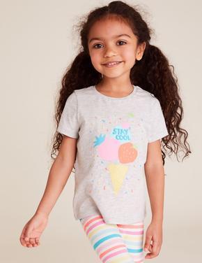 Kız Çocuk Gri Dondurma Baskılı T-Shirt
