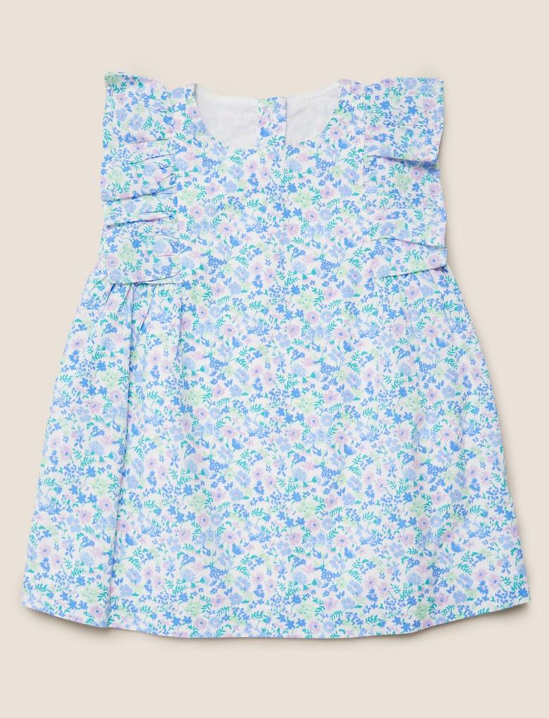 Bebek Mavi Çiçek Desenli Elbise