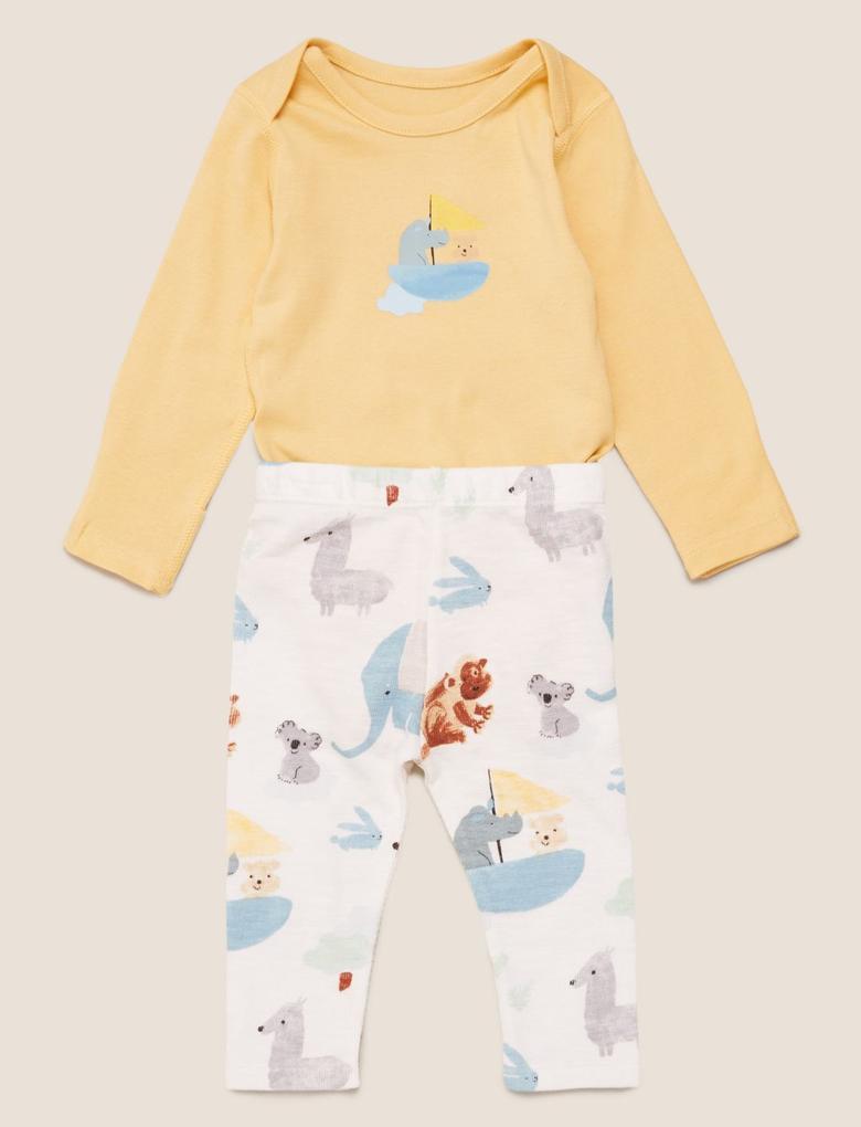 Bebek Mavi Desenli Pijama Takımı