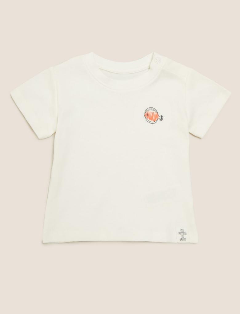 Bebek Krem 3'lü Baskılı T-Shirt Seti