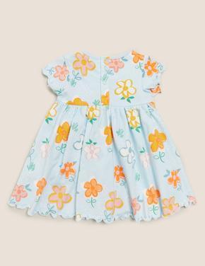 Bebek Mavi Organik Pamuklu Çiçek Desenli Elbise