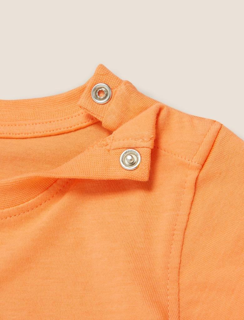 Bebek Turuncu Organik Pamuklu Köpek Baskılı T-Shirt