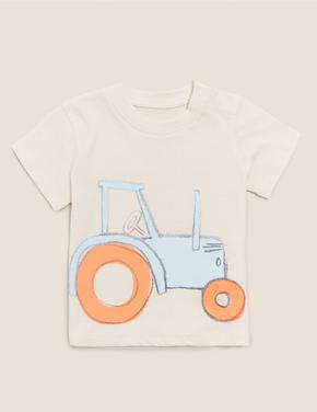 Bebek Multi Renk Organik Pamuklu Traktör Baskılı T-Shirt