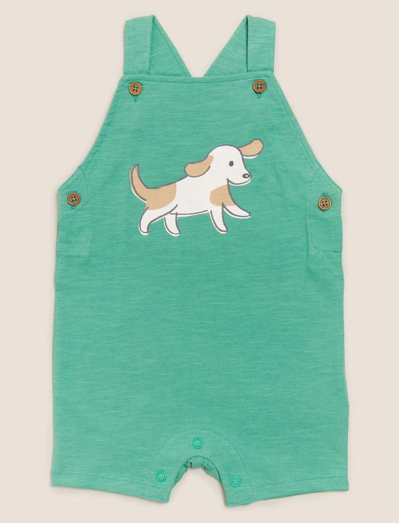 Bebek Yeşil Pamuklu Köpek Desenli Tulum