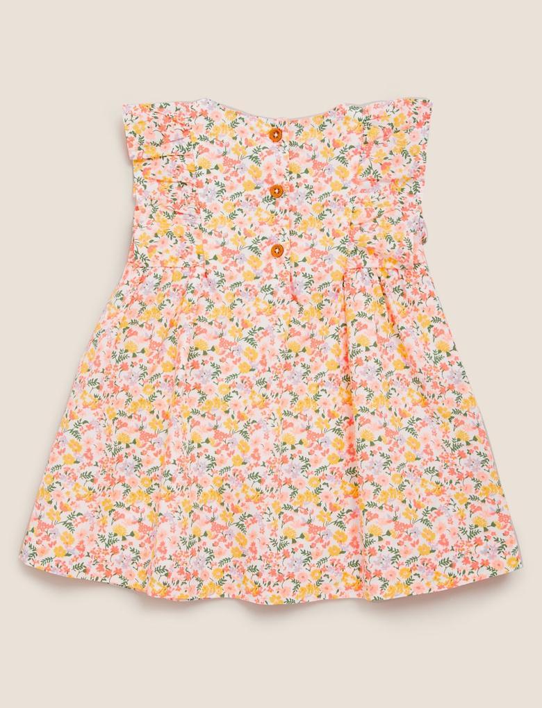 Bebek Turuncu Çiçek Desenli Elbise