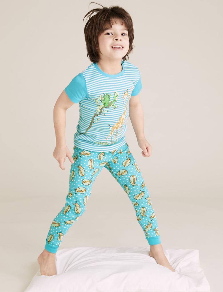Çocuk Mavi Roald Dahl? & NHM Baskl Unisex Pijama Takm