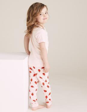 Çocuk Pembe Çilek Desenli Pijama Takımı