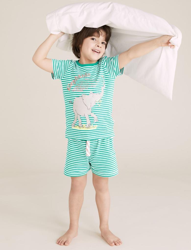 Çocuk Multi Renk Fil Baskılı Unisex Pijama Takımı