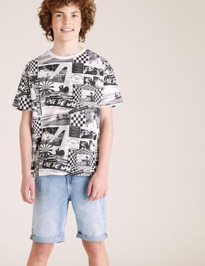 Erkek Çocuk Siyah Organik Pamuklu Fotoğraf Baskılı T-Shirt