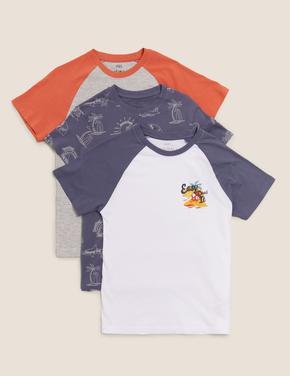 Erkek Çocuk Multi Renk 3'lü Desenli T-Shirt