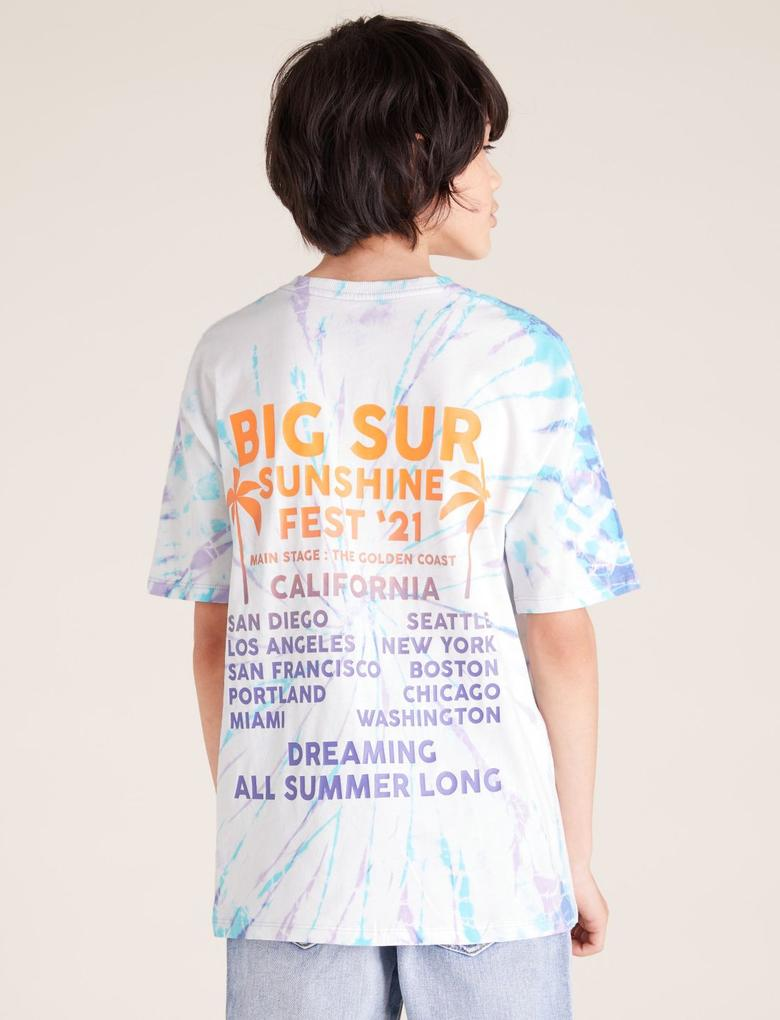 Erkek Çocuk Mor Tie-Dye Grafik Desenli T-Shirt