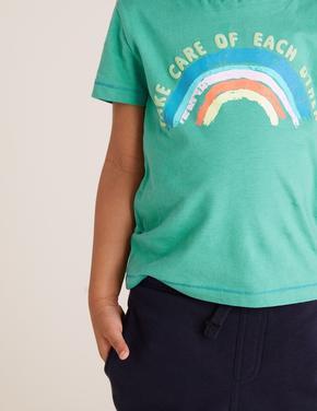 Erkek Çocuk Yeşil Organik Pamuklu Gökkuşağı Desenli T-Shirt
