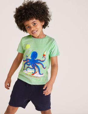 Erkek Çocuk Yeşil Organik Pamuklu Ahtapot Baskılı T-Shirt
