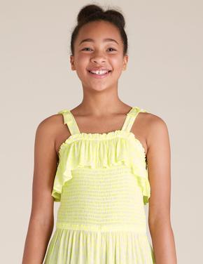 Kız Çocuk Sarı İnce Askılı Tulum