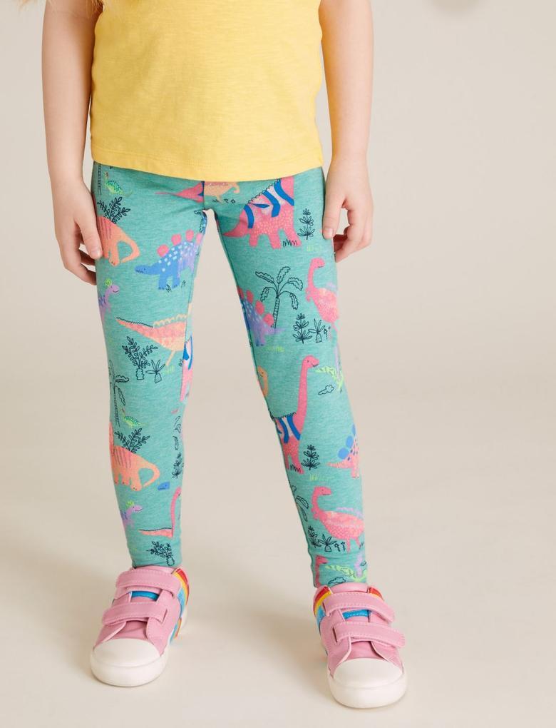 Kız Çocuk Multi Renk 3'lü Dinozor Desenli Tayt Seti
