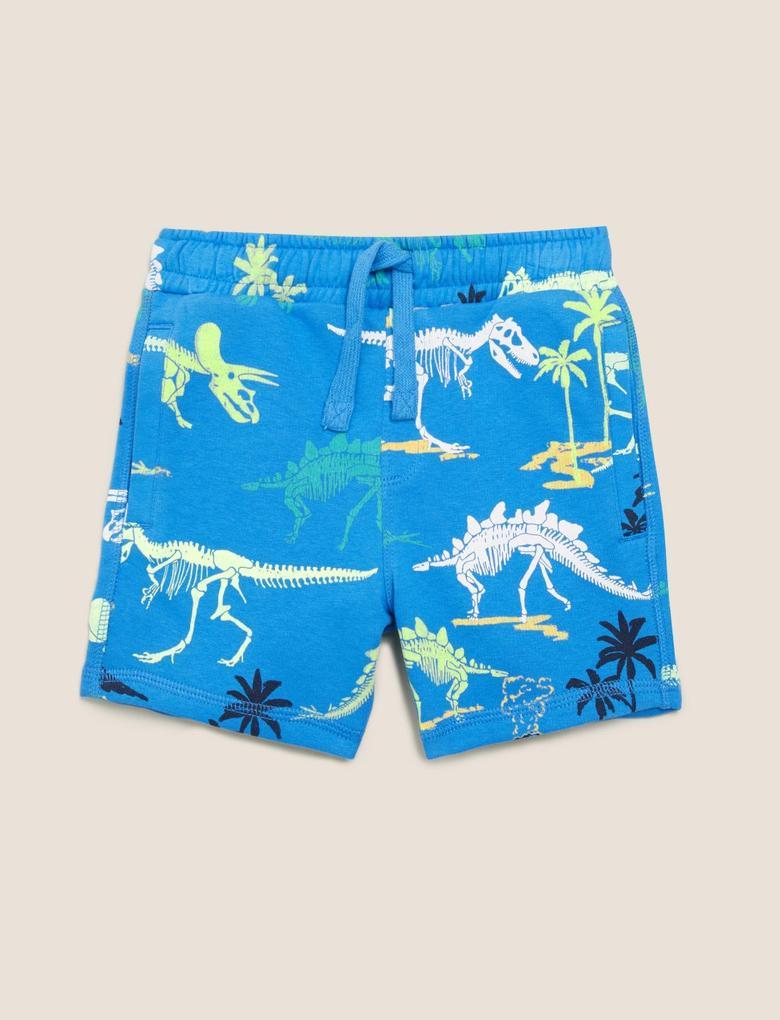 Erkek Çocuk Mavi Dinozor Desenli Şort