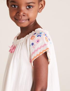 Kız Çocuk Beyaz Pamuklu Desenli Elbise