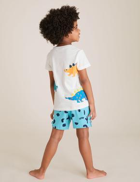 Çocuk Yeşil Dinozor Desenli Pijama Takımı