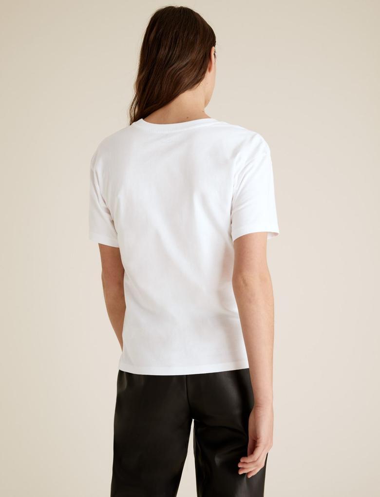 Kadın Beyaz Pamuklu Slogan Desenli T-Shirt