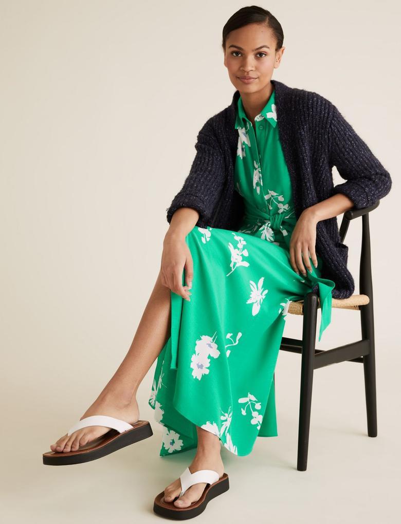 Kadın Yeşil Çiçek Desenli Elbsie