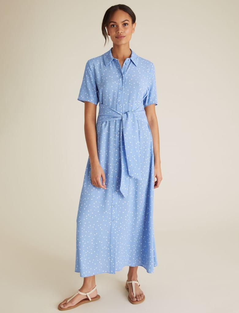 Kadın Mavi Kemer Detaylı Elbise