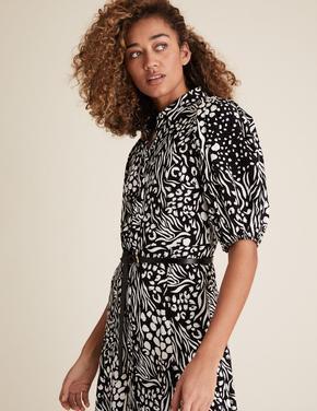 Kadın Siyah Desenli Elbise