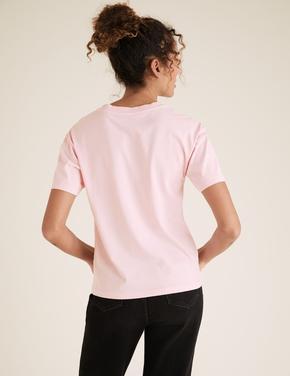 Kadın Pembe Pamuklu Slogan Desenli T-Shirt