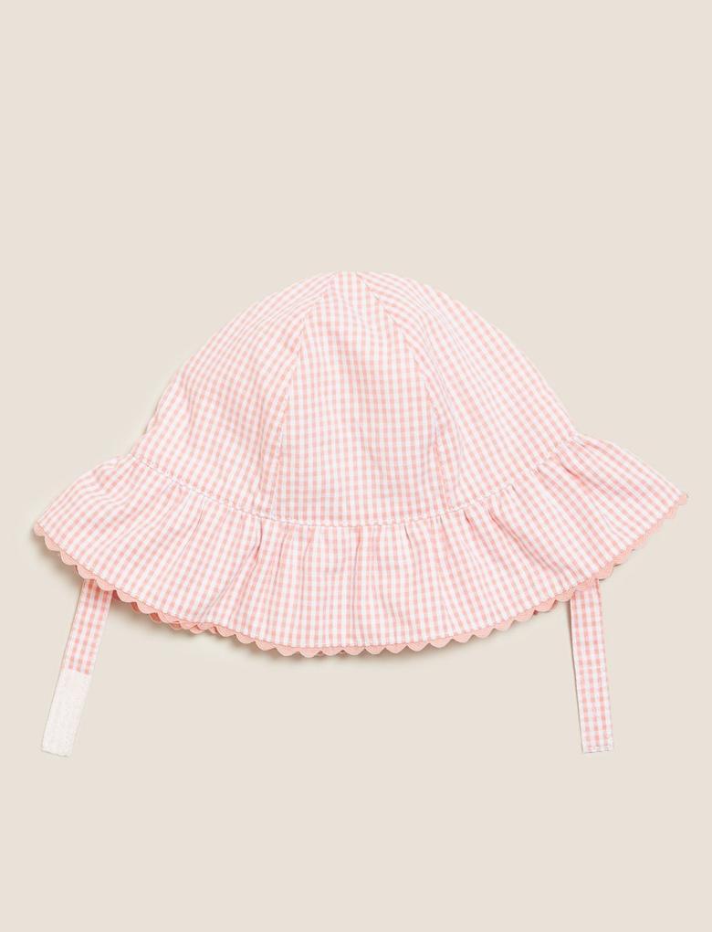 Kız Çocuk Pembe Kareli Şapka