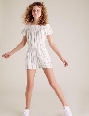 Kız Çocuk Beyaz Çizgili Tulum